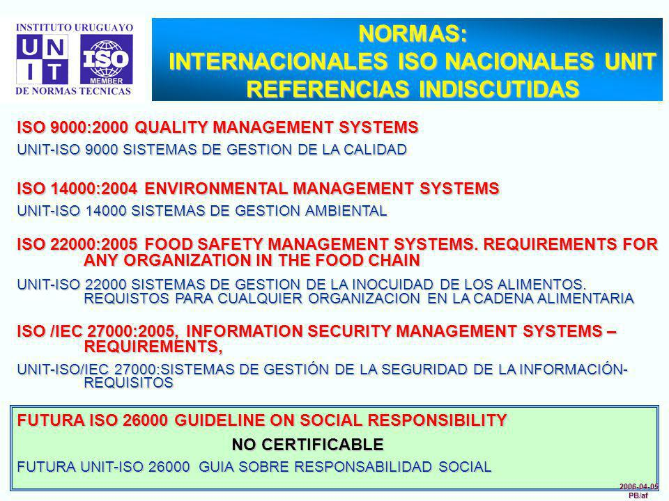 2006-04-05PB/af FUTURA ISO 26000 GUIDELINE ON SOCIAL RESPONSIBILITY NO CERTIFICABLE NO CERTIFICABLE FUTURA UNIT-ISO 26000 GUIA SOBRE RESPONSABILIDAD S