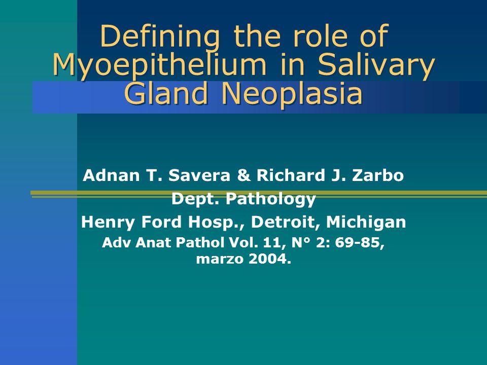 Mioepitelio neoplásico Perfil IHQ Estas modificaciones son aleatorias E inconsistentemente expresadas en el mismo tipo tumoral o en tipos morfológicos similares de cél mioepit neoplásicas Mioepitelio neoplásico no siempre muestra un componente miogénico AML negativa en tumor salival con células plasmocitoides (hialinas), matriz mixoide y co-expresión de CK 14, vimentina y S-100, no precluye el diagnóstico de mioepitelioma