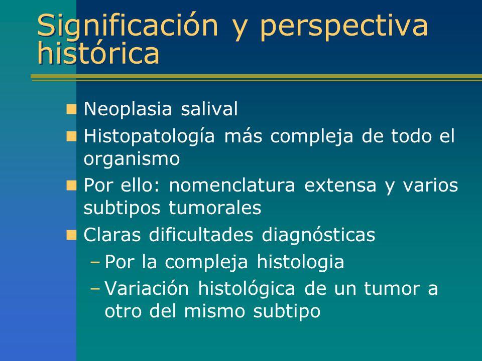 Carcinoma mioepitelial Diagn diferencial Células claras –CEM: bifásico, túbulos verdaderos, EMA y CEA + –Carc hialinizante cél claras: estroma hialinizado, monomórfico, S-100, marc musculares y vimentina negativos –CME: mucocitos, cél intermedias y escamosas; mucina +, CEA y EMA +, marc musc neg –Oncocitoma: patrón organoide, oncocitos, H-fosfotúngstica +, marc musculares neg