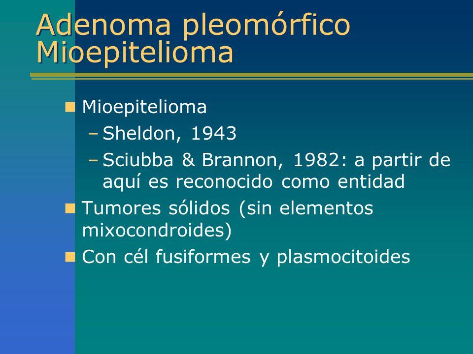 Adenoma pleomórfico Mioepitelioma Mioepitelioma –Sheldon, 1943 –Sciubba & Brannon, 1982: a partir de aquí es reconocido como entidad Tumores sólidos (