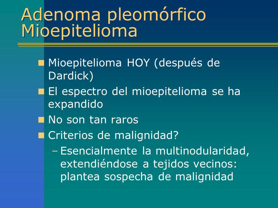 Adenoma pleomórfico Mioepitelioma Mioepitelioma HOY (después de Dardick) El espectro del mioepitelioma se ha expandido No son tan raros Criterios de m