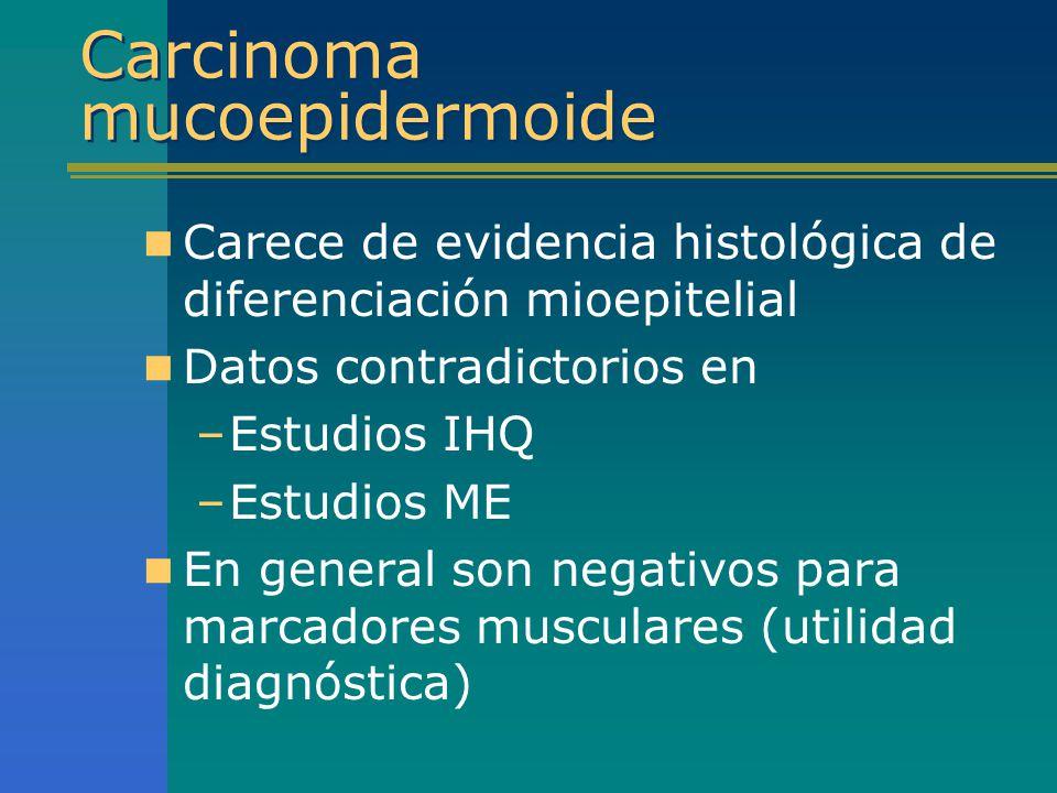 Carcinoma mucoepidermoide Carece de evidencia histológica de diferenciación mioepitelial Datos contradictorios en –Estudios IHQ –Estudios ME En genera