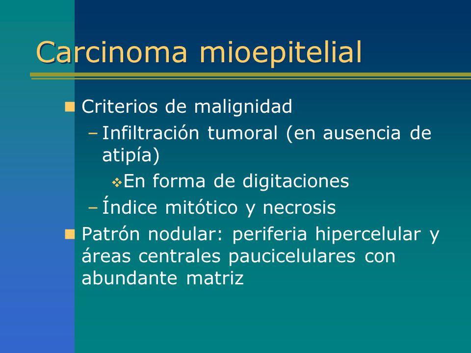 Carcinoma mioepitelial Criterios de malignidad –Infiltración tumoral (en ausencia de atipía) En forma de digitaciones –Índice mitótico y necrosis Patr