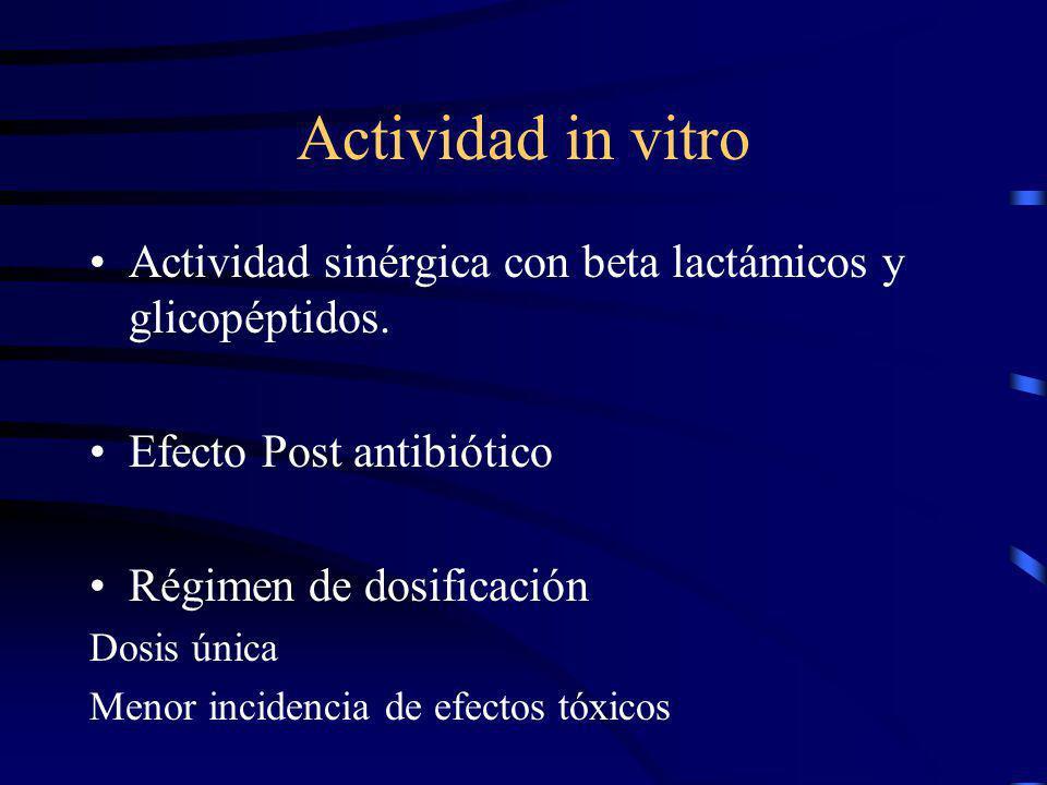 Actividad in vitro Actividad sinérgica con beta lactámicos y glicopéptidos. Efecto Post antibiótico Régimen de dosificación Dosis única Menor incidenc
