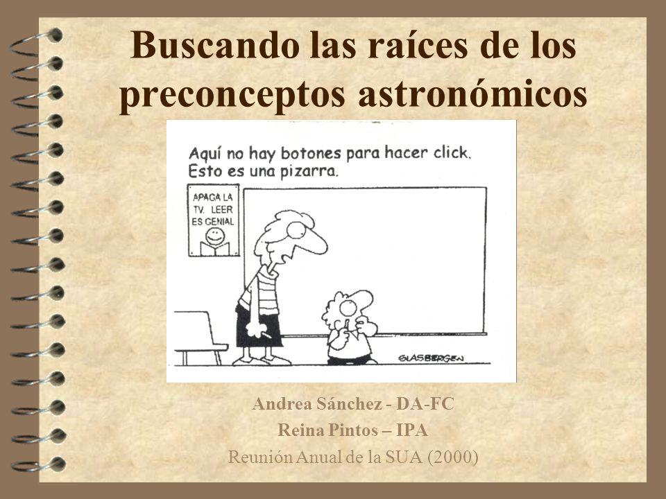 Buscando las raíces de los preconceptos astronómicos Andrea Sánchez - DA-FC Reina Pintos – IPA Reunión Anual de la SUA (2000)