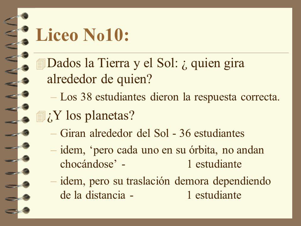 Liceo N o 10: 4 Dados la Tierra y el Sol: ¿ quien gira alrededor de quien.