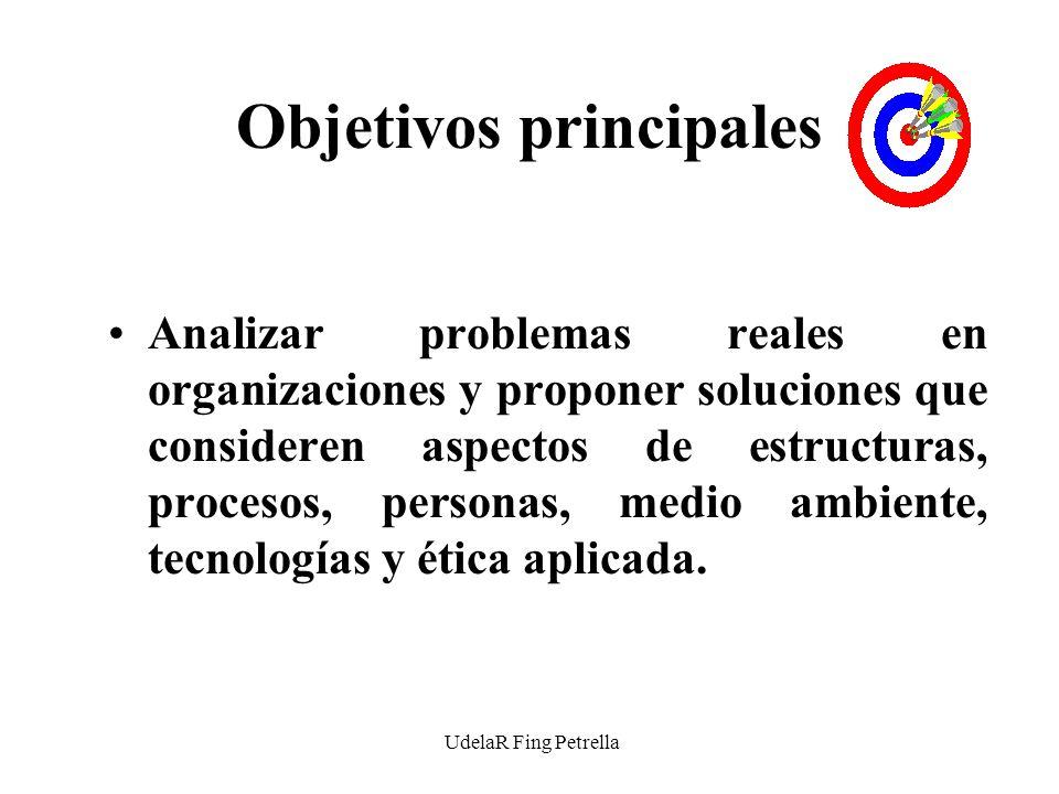 UdelaR Fing Petrella Objetivos principales Analizar problemas reales en organizaciones y proponer soluciones que consideren aspectos de estructuras, procesos, personas, medio ambiente, tecnologías y ética aplicada.