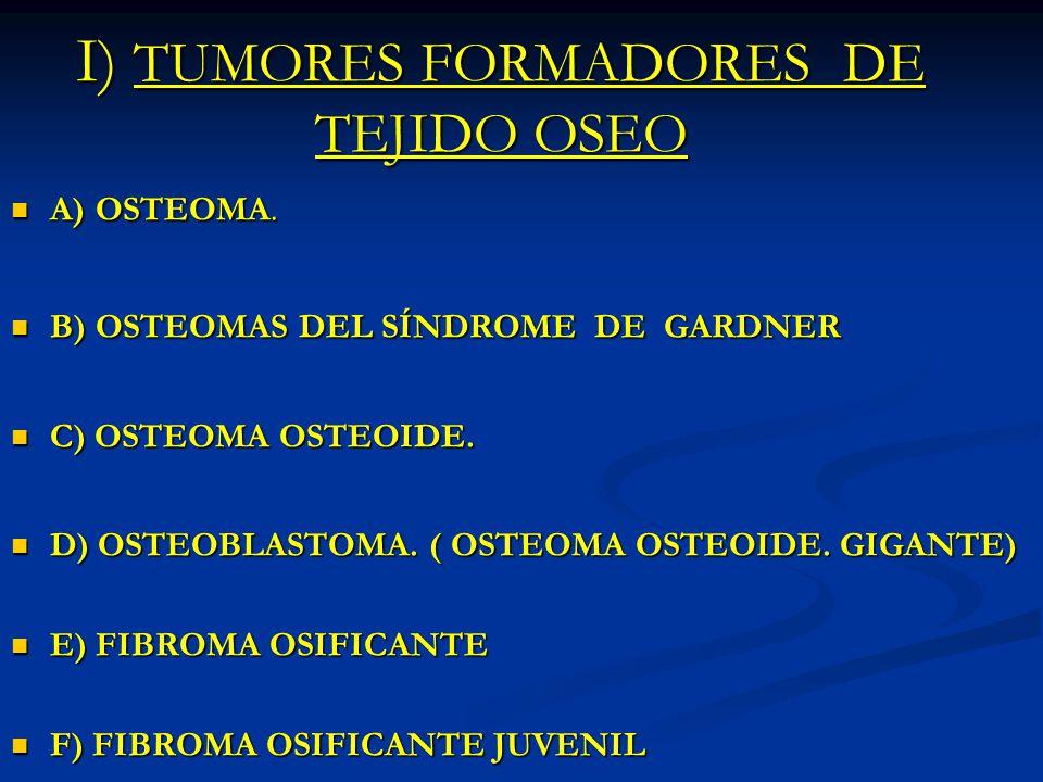 I) TUMORES FORMADORES DE TEJIDO OSEO A) OSTEOMA. A) OSTEOMA. B) OSTEOMAS DEL SÍNDROME DE GARDNER B) OSTEOMAS DEL SÍNDROME DE GARDNER C) OSTEOMA OSTEOI