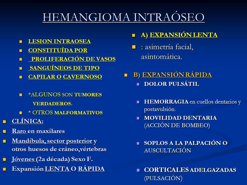HEMANGIOMA INTRAÓSEO LESION INTRAOSEA LESION INTRAOSEA CONSTITUÍDA POR CONSTITUÍDA POR PROLIFERACIÓN DE VASOS PROLIFERACIÓN DE VASOS SANGUÍNEOS DE TIP