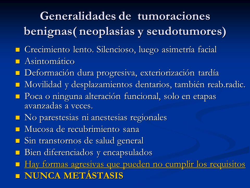 Tumores benignos Características generales radiográficas Bien delimitados Bien delimitados Cortical íntegra o perforación tardía Cortical íntegra o perforación tardía Dezplazamiento de seno maxilar, conducto dentario, etc.