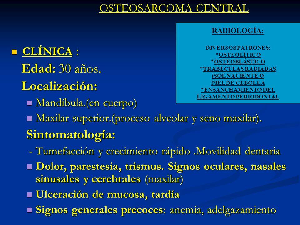 OSTEOSARCOMA CENTRAL CLÍNICA : CLÍNICA : Edad: 30 años. Edad: 30 años. Localización: Localización: Mandíbula.(en cuerpo) Mandíbula.(en cuerpo) Maxilar