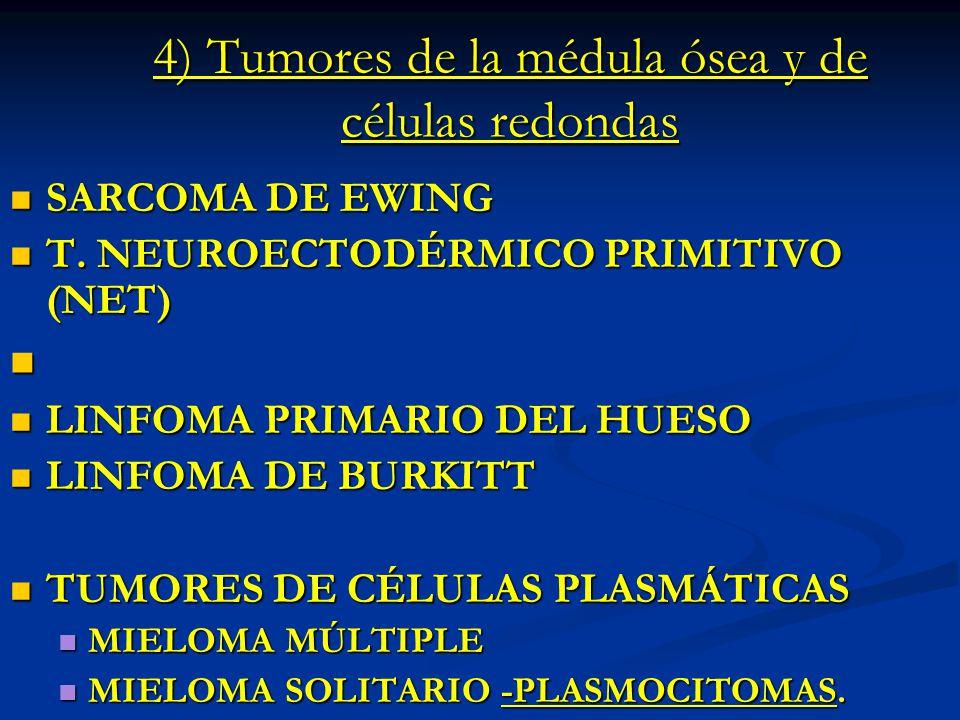 4) Tumores de la médula ósea y de células redondas SARCOMA DE EWING SARCOMA DE EWING T. NEUROECTODÉRMICO PRIMITIVO (NET) T. NEUROECTODÉRMICO PRIMITIVO