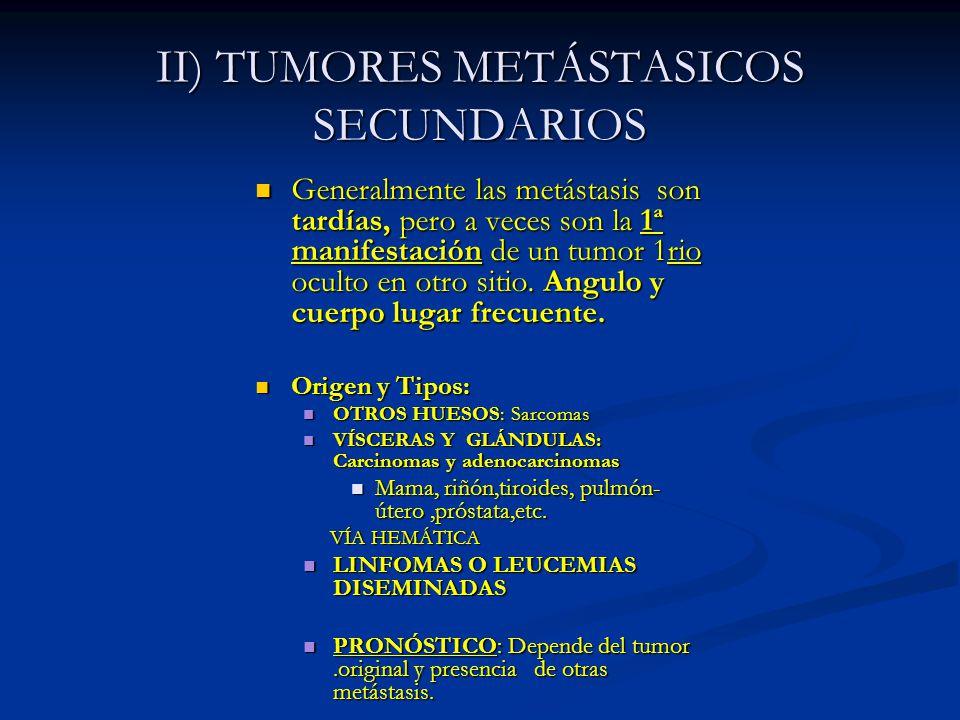 II) TUMORES METÁSTASICOS SECUNDARIOS Generalmente las metástasis son tardías, pero a veces son la 1ª manifestación de un tumor 1rio oculto en otro sit
