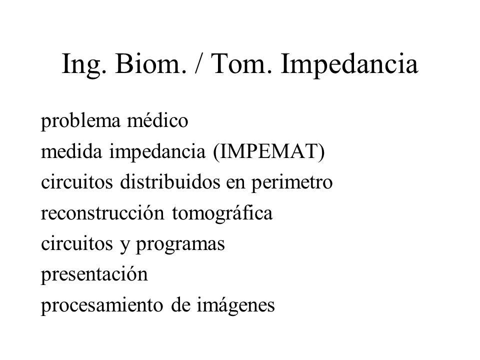 Ing. Biom. / Tom. Impedancia problema médico medida impedancia (IMPEMAT) circuitos distribuidos en perimetro reconstrucción tomográfica circuitos y pr