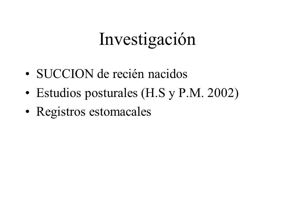 Investigación SUCCION de recién nacidos Estudios posturales (H.S y P.M. 2002) Registros estomacales