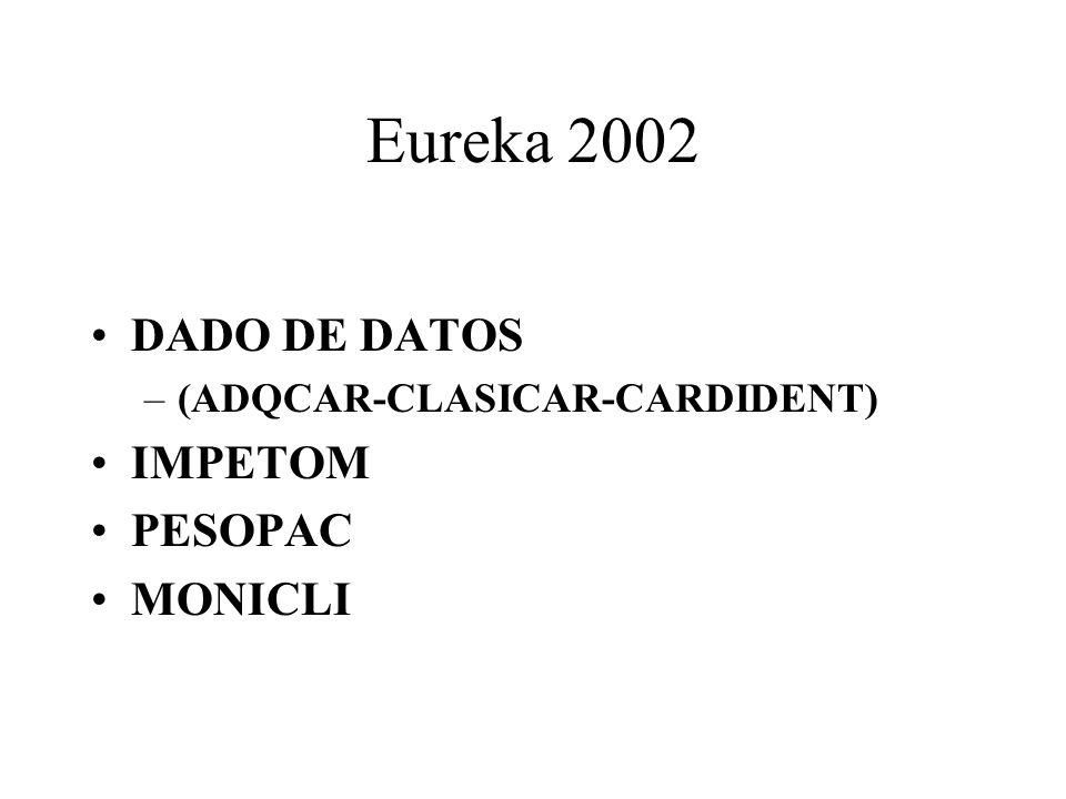 Eureka 2002 DADO DE DATOS –(ADQCAR-CLASICAR-CARDIDENT) IMPETOM PESOPAC MONICLI