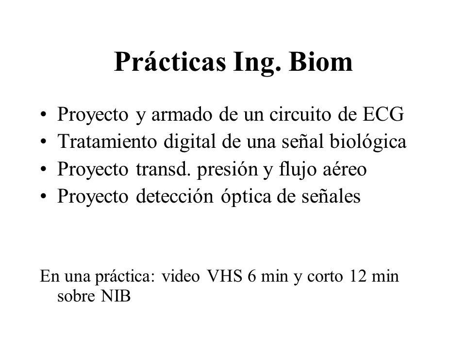 Prácticas Ing. Biom Proyecto y armado de un circuito de ECG Tratamiento digital de una señal biológica Proyecto transd. presión y flujo aéreo Proyecto