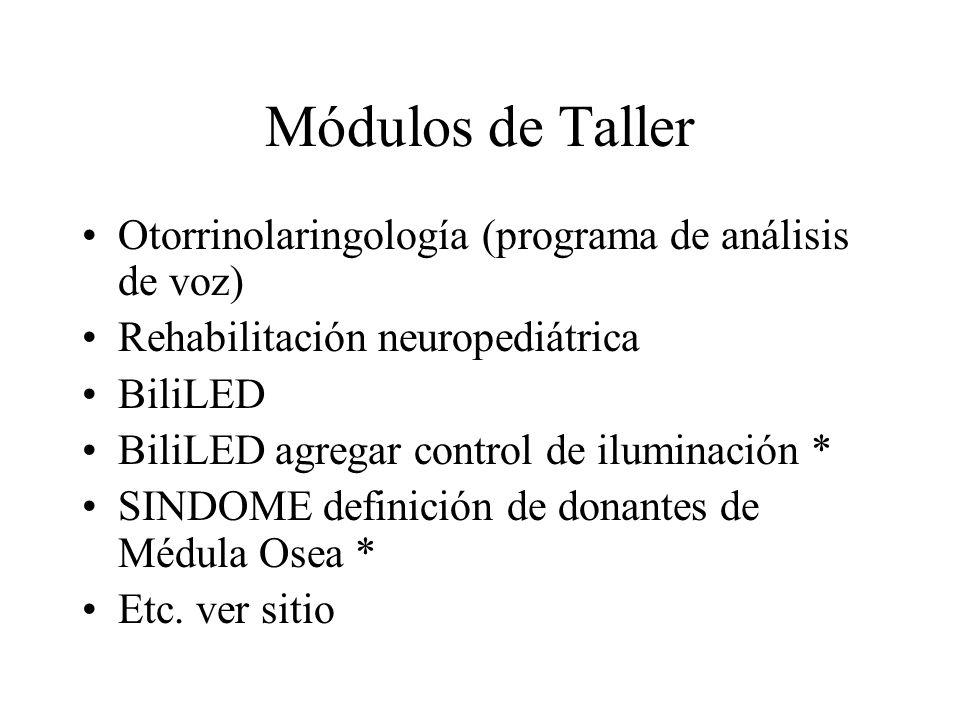 Módulos de Taller Otorrinolaringología (programa de análisis de voz) Rehabilitación neuropediátrica BiliLED BiliLED agregar control de iluminación * S