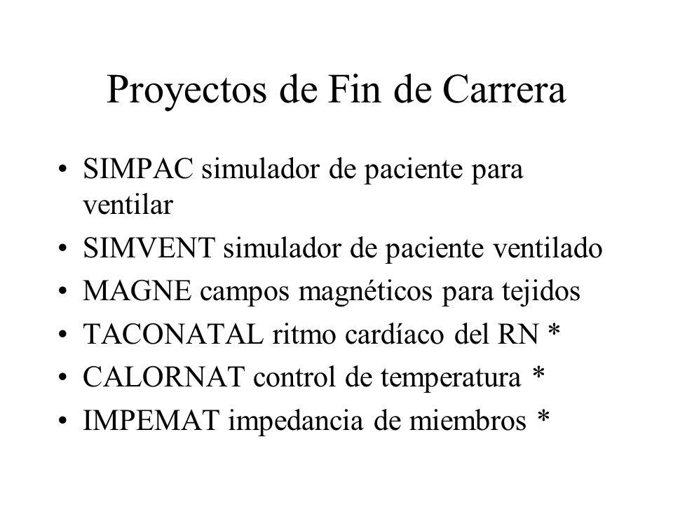 Proyectos de Fin de Carrera SIMPAC simulador de paciente para ventilar SIMVENT simulador de paciente ventilado MAGNE campos magnéticos para tejidos TA
