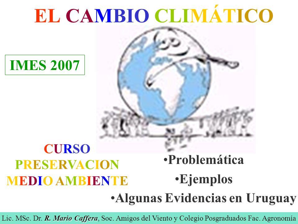 EL CAMBIO CLIMÁTICO Problemática Ejemplos Algunas Evidencias en Uruguay R.