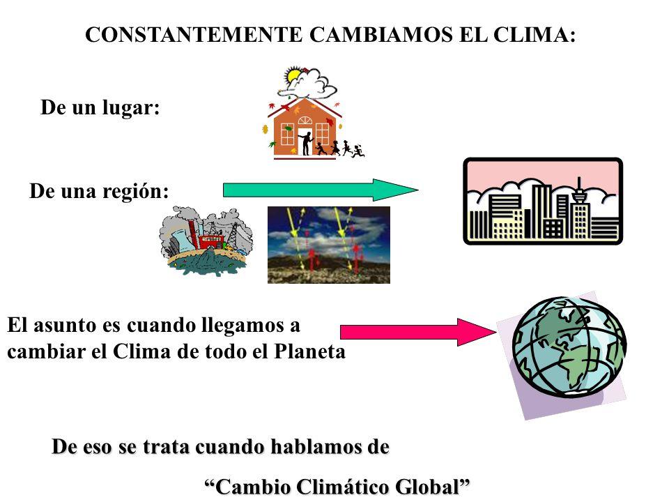 De eso se trata cuando hablamos de Cambio Climático Global CONSTANTEMENTE CAMBIAMOS EL CLIMA: De un lugar: De una región: El asunto es cuando llegamos a cambiar el Clima de todo el Planeta
