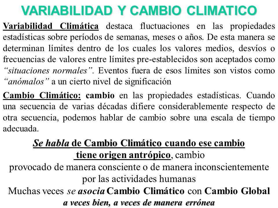 VARIABILIDAD Y CAMBIO CLIMATICO Variabilidad Climática destaca fluctuaciones en las propiedades estadísticas sobre períodos de semanas, meses o años.