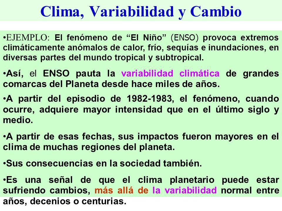 Clima, Variabilidad y Cambio EJEMPLO: El fenómeno de El Niño (ENSO) provoca extremos climáticamente anómalos de calor, frío, sequías e inundaciones, en diversas partes del mundo tropical y subtropical.