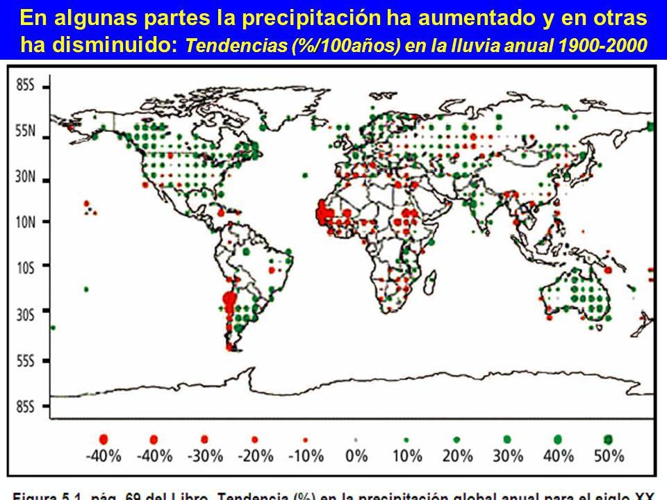 / En algunas partes la precipitación ha aumentado y en otras ha disminuido: Tendencias (%/100años) en la lluvia anual 1900-2000 Insert figure