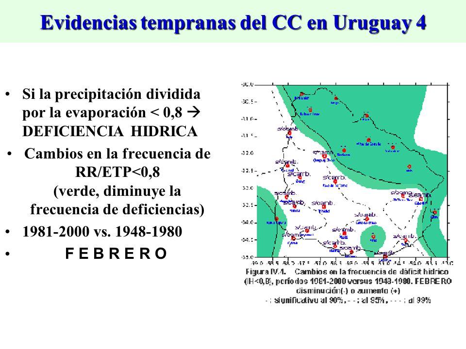 Evidencias tempranas del CC en Uruguay 4 Si la precipitación dividida por la evaporación < 0,8 DEFICIENCIA HIDRICA Cambios en la frecuencia de RR/ETP<0,8 (verde, diminuye la frecuencia de deficiencias) 1981-2000 vs.