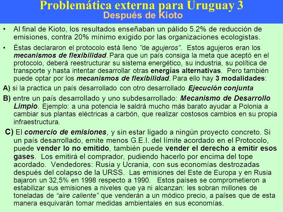 Problemática externa para Uruguay 3 Después de Kioto Al final de Kioto, los resultados enseñaban un pálido 5.2% de reducción de emisiones, contra 20% mínimo exigido por las organizaciones ecologistas.