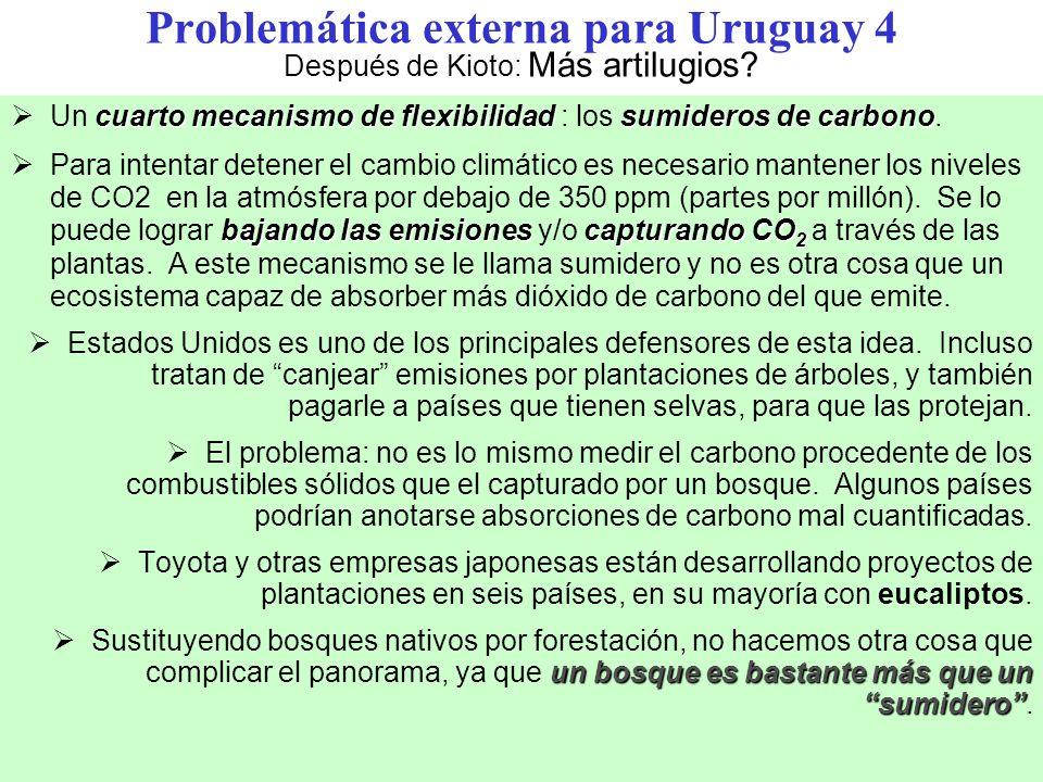 Problemática externa para Uruguay 4 Después de Kioto: Más artilugios.