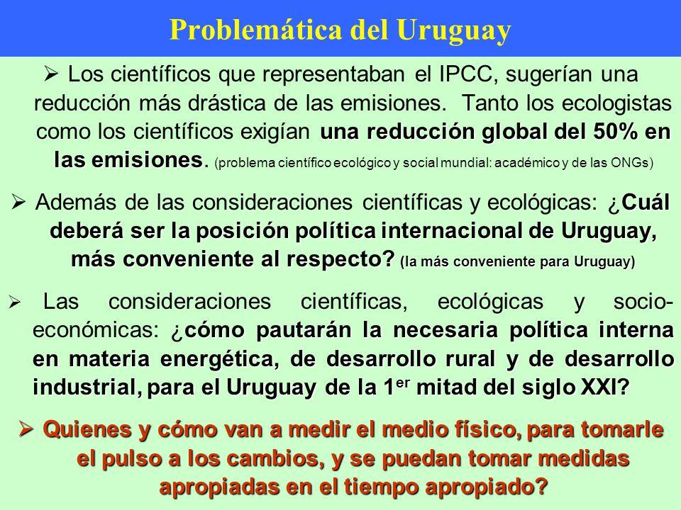 Problemática del Uruguay una reducción global del 50% en las emisiones Los científicos que representaban el IPCC, sugerían una reducción más drástica de las emisiones.