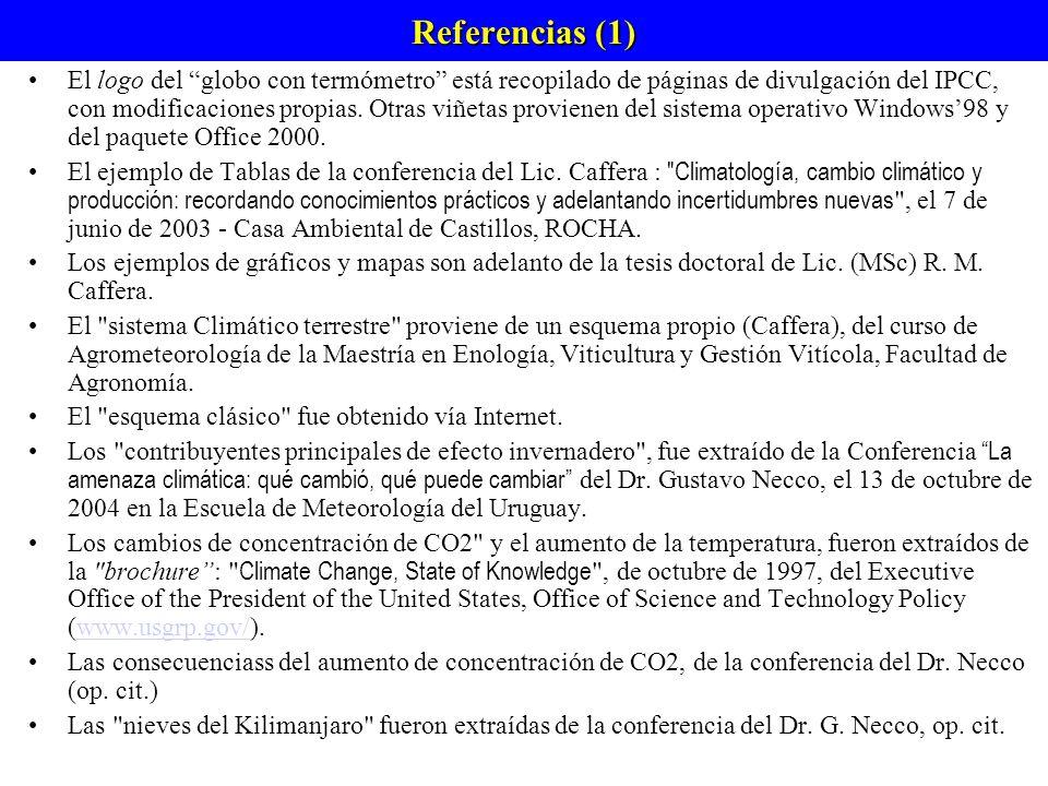 Referencias (1) El logo del globo con termómetro está recopilado de páginas de divulgación del IPCC, con modificaciones propias.