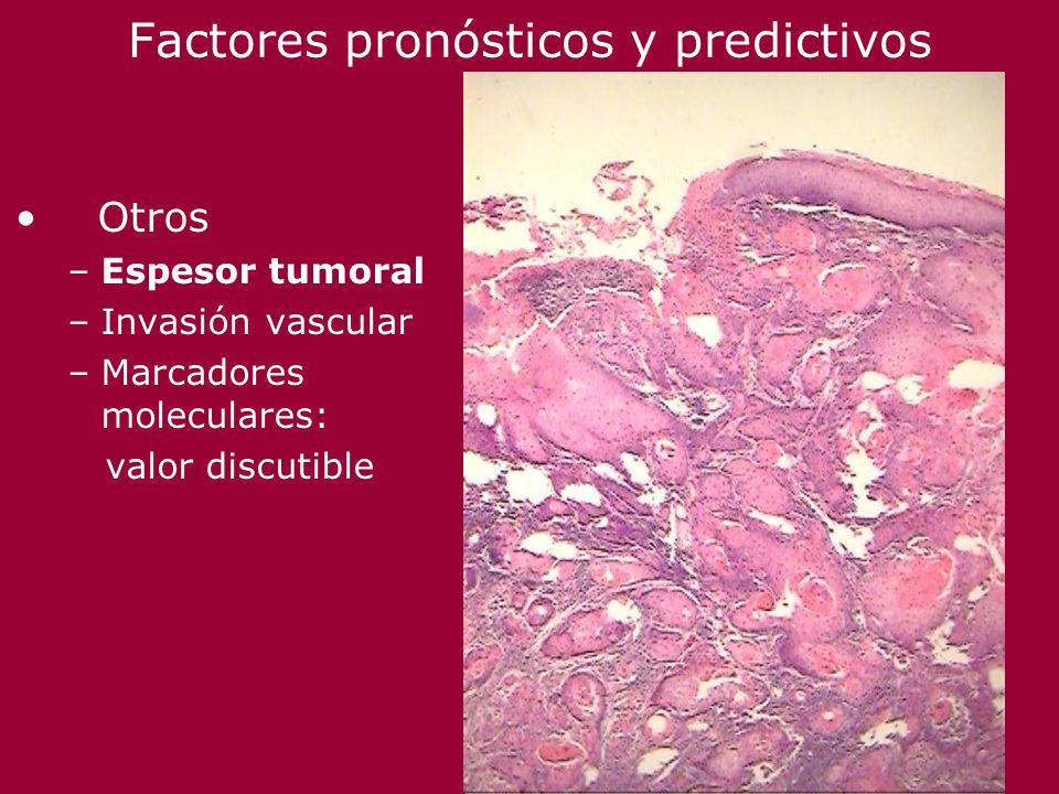 Factores pronósticos y predictivos Otros –Espesor tumoral –Invasión vascular –Marcadores moleculares: valor discutible