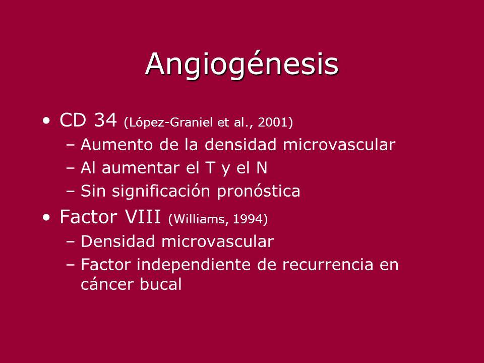 Angiogénesis CD 34 (López-Graniel et al., 2001) –Aumento de la densidad microvascular –Al aumentar el T y el N –Sin significación pronóstica Factor VI