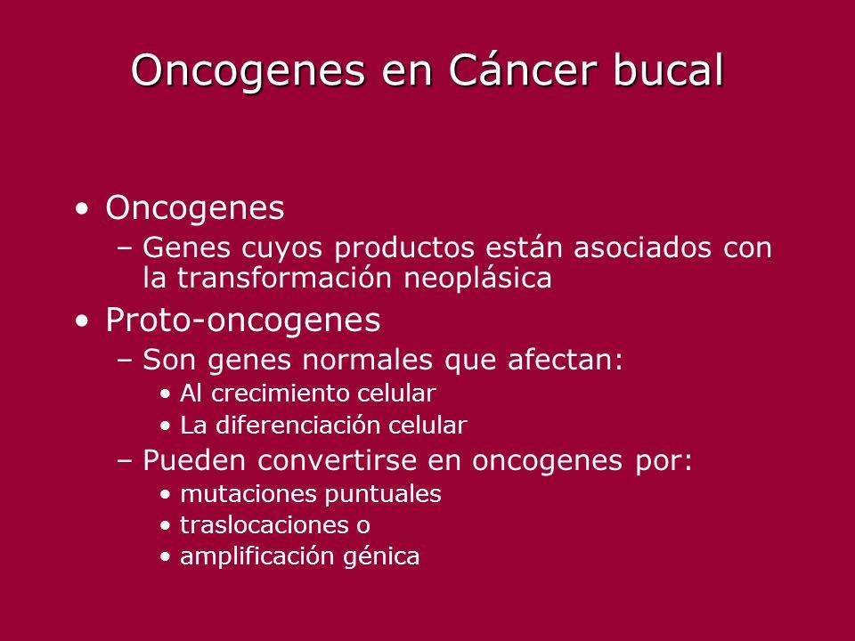 Oncogenes en Cáncer bucal Oncogenes –Genes cuyos productos están asociados con la transformación neoplásica Proto-oncogenes –Son genes normales que af