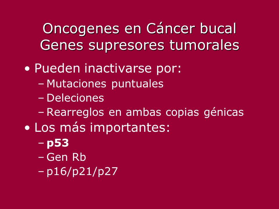 Oncogenes en Cáncer bucal Genes supresores tumorales Pueden inactivarse por: –Mutaciones puntuales –Deleciones –Rearreglos en ambas copias génicas Los