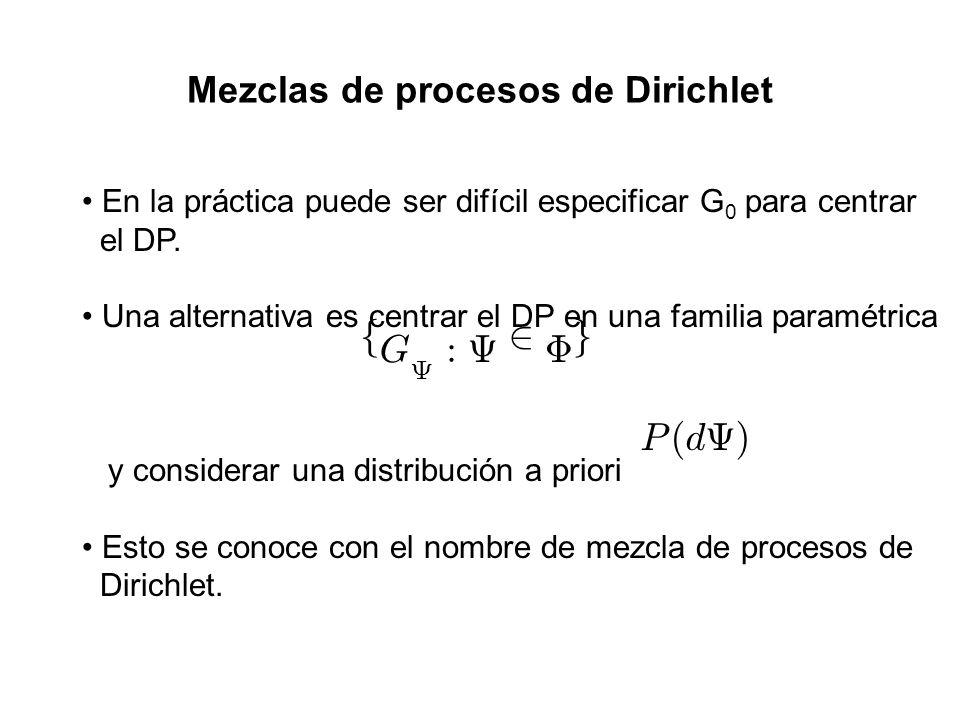Mezclas de procesos de Dirichlet En la práctica puede ser difícil especificar G 0 para centrar el DP. Una alternativa es centrar el DP en una familia