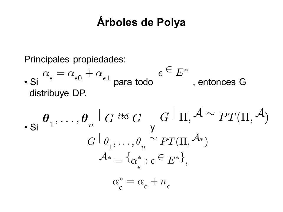Principales propiedades: Si para todo, entonces G distribuye DP. Si y µ 1 ;:::; µ n j G ii d » G ® ² = ® ² 0 + ® ² 1 ² 2 E ¤ G j ¦ ; A » PT ( ¦ ; A )