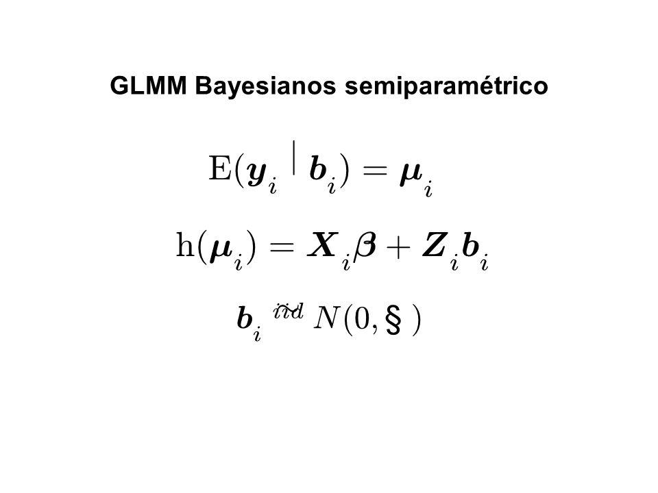 GLMM Bayesianos semiparamétrico E ( y i j b i ) = ¹ i h ( ¹ i ) = X i ¯ + Z i b i b i ii d » N ( 0 ; § )