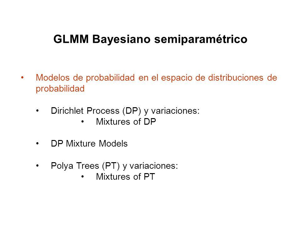 GLMM Bayesiano semiparamétrico Dirichlet Process (DP) y variaciones: Mixtures of DP DP Mixture Models Polya Trees (PT) y variaciones: Mixtures of PT M