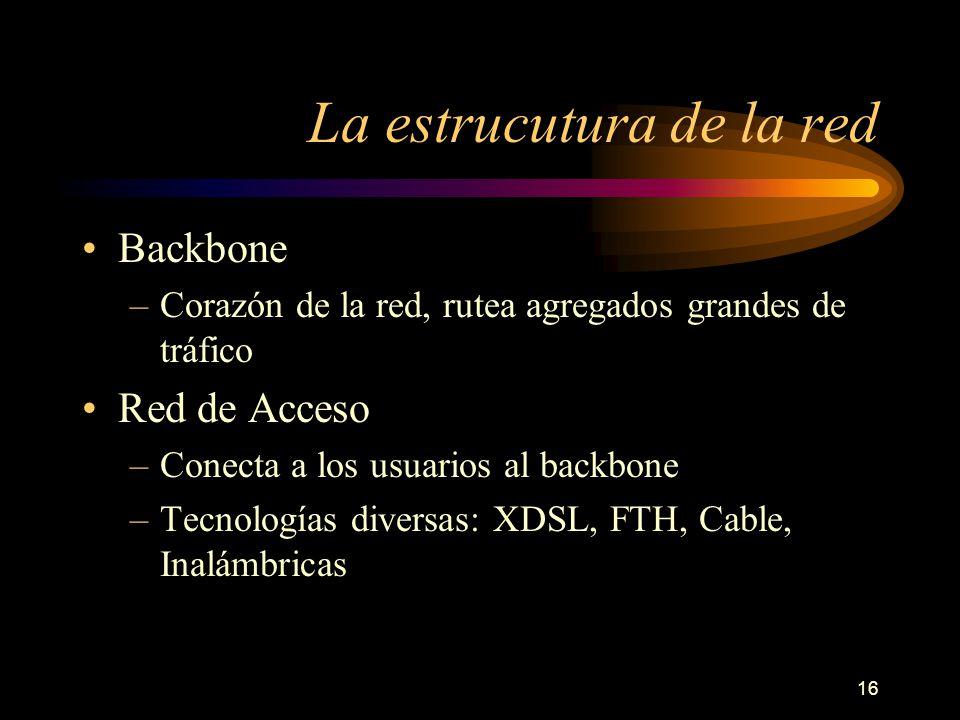 16 La estrucutura de la red Backbone –Corazón de la red, rutea agregados grandes de tráfico Red de Acceso –Conecta a los usuarios al backbone –Tecnolo