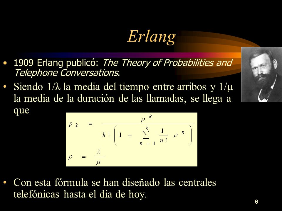 6 Erlang 1909 Erlang publicó: The Theory of Probabilities and Telephone Conversations.