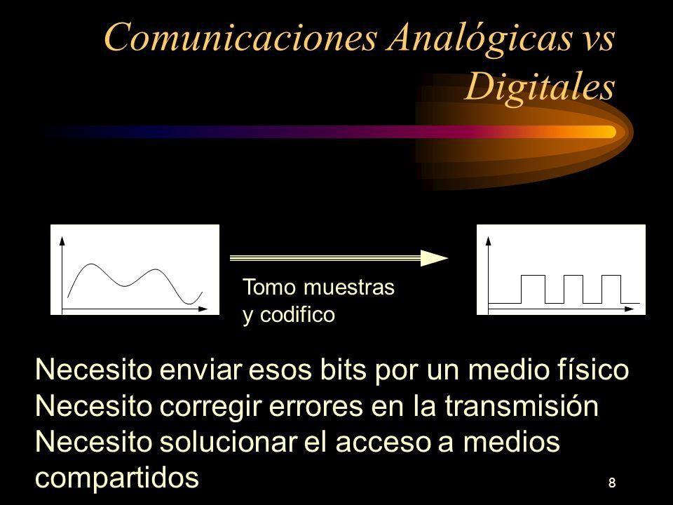 8 Comunicaciones Analógicas vs Digitales Tomo muestras y codifico Necesito enviar esos bits por un medio físico Necesito corregir errores en la transm