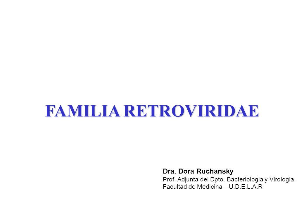 FAMILIA RETROVIRIDAE Dra.Dora Ruchansky Prof. Adjunta del Dpto.