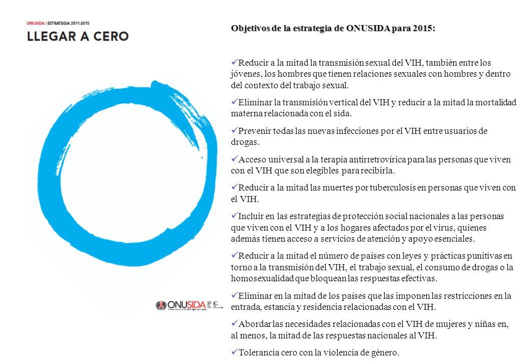Objetivos de la estrategia de ONUSIDA para 2015: Reducir a la mitad la transmisión sexual del VIH, también entre los jóvenes, los hombres que tienen relaciones sexuales con hombres y dentro del contexto del trabajo sexual.
