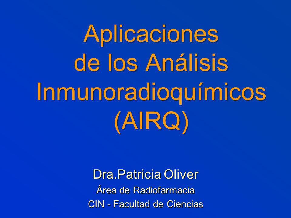 Aplicaciones de los Análisis Inmunoradioquímicos (AIRQ) Dra.Patricia Oliver Área de Radiofarmacia CIN - Facultad de Ciencias