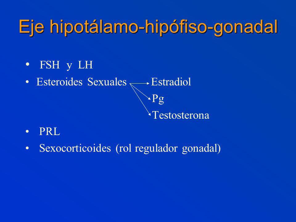 Eje hipotálamo-hipófiso-gonadal FSH y LH Esteroides Sexuales Estradiol Pg Testosterona PRL Sexocorticoides (rol regulador gonadal)