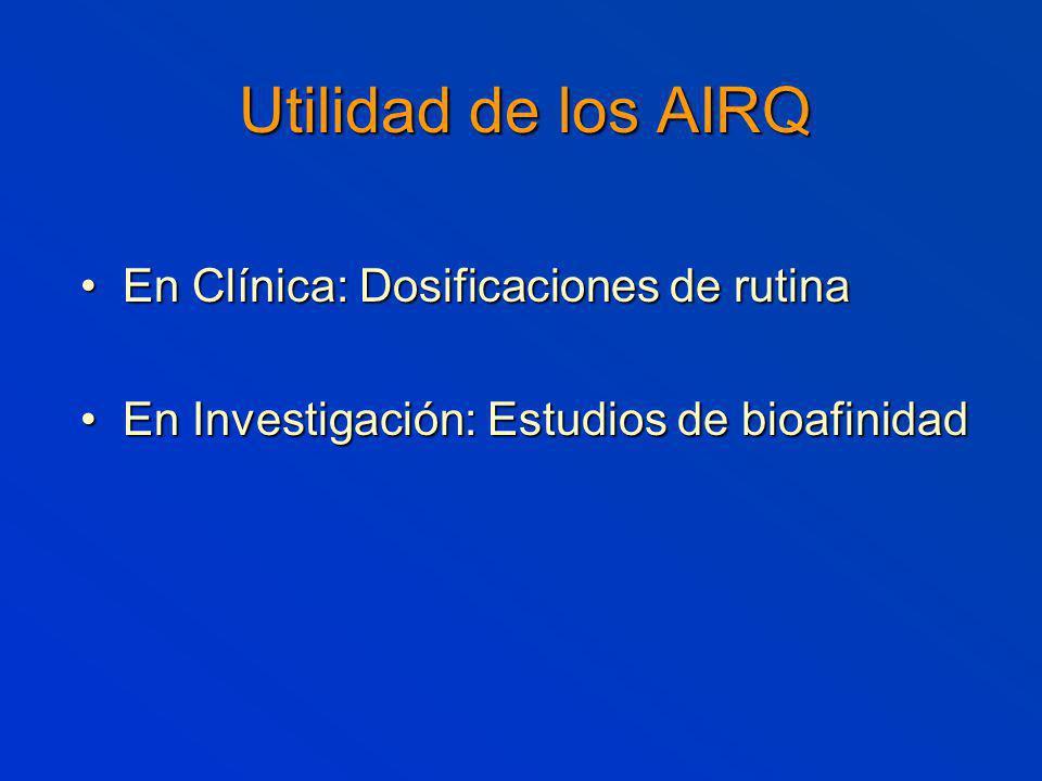 Utilidad de los AIRQ En Clínica: Dosificaciones de rutina En Clínica: Dosificaciones de rutina En Investigación: Estudios de bioafinidad En Investigación: Estudios de bioafinidad