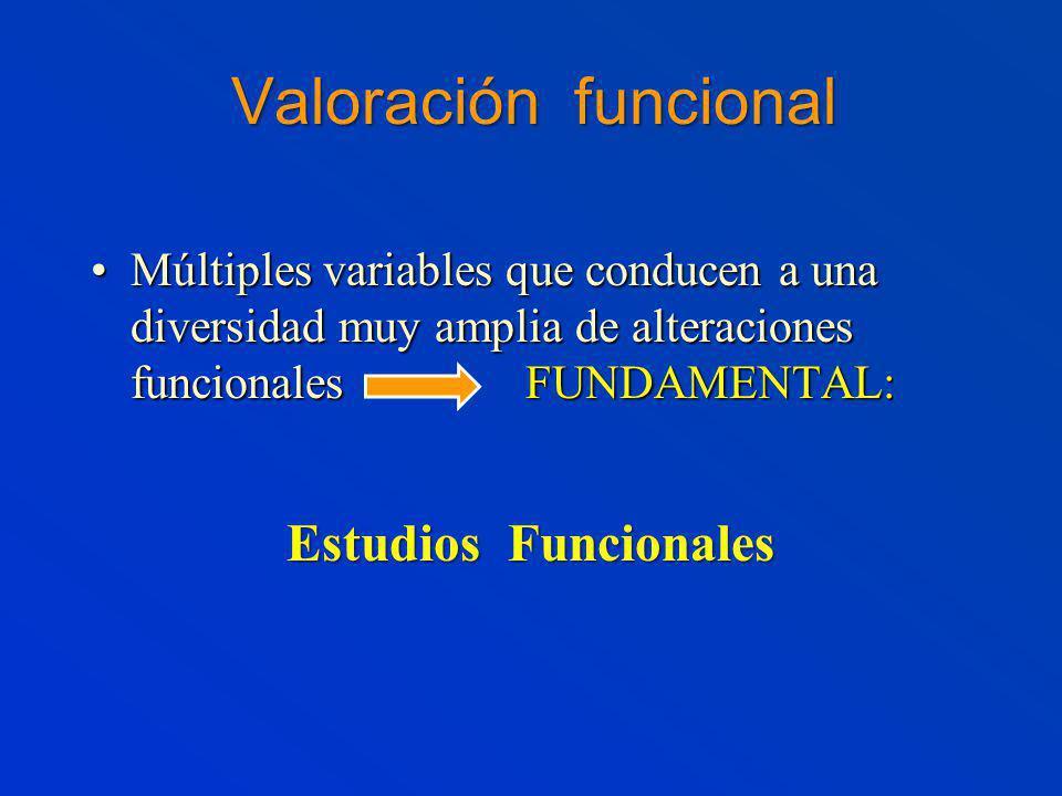 Valoración funcional Múltiples variables que conducen a una diversidad muy amplia de alteraciones funcionales FUNDAMENTAL:Múltiples variables que conducen a una diversidad muy amplia de alteraciones funcionales FUNDAMENTAL: Estudios Funcionales